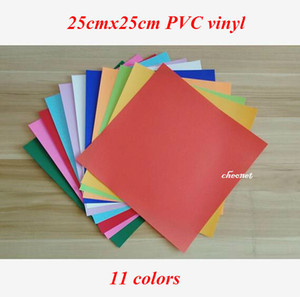 Ücretsiz kargo 11 sheets / renkler 25X25 CM PVC Isı Transferi Vinil Demir vinil Isı Basın Makinesi Kesim Plotter HTV T-shirt DIY
