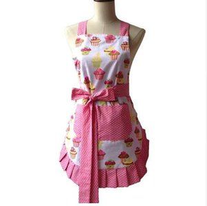 Retro Küchenschürze Frau Flirty White Apron Matt Cupcake Striped Polka Dot gekräuselten Salon Avental de Cozinha Divertido