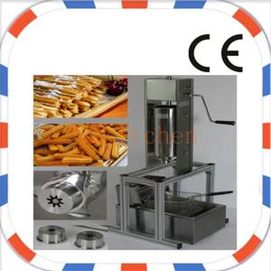 Бесплатная доставка Коммерческое использование Руководство из нержавеющей стали Испанский Churros Maker Machine с 5 шт. Насадки с фритюрницей Churros и подставкой Churros