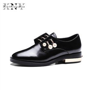 XIUNINGYAN Women's Flats Genuine Leather Metal Pearl Lace UP Autumn Spring Black White Casual  Fashion Shoe Plus Size 34-43