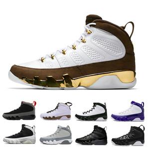 جديد 9 Bred LA Mop Melo 9s للرجال أحذية كرة السلة أسود أبيض أحذية Cool Grey the Spirit
