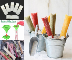 Ice Popsicle Moulds Beutel Pop Mould Pouch mit Zip Seals Freier Trichter DIY Zip-Top Ice Pop Beutel für Gogurt, Ice Candy oder Freeze Pops