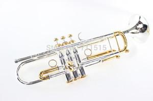 LT180S - 72 Trompette B Plat Durable Brass Bb Trompette Exquis Sculpté Avec Argent Plaqué Embouchure Avec Gants Boîte Réglable Strap Trompeta