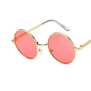GUVIVI мода новый 2018 круглый солнцезащитные очки женщин старинные металлический каркас розовый желтый объектив красочные тени солнцезащитные очки UV400