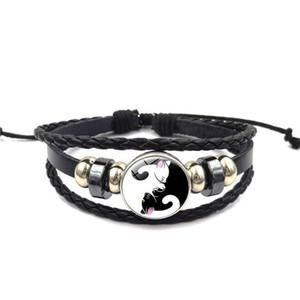 Tempo braccialetto di fascino della gemma cinese Yin-Yang tai chi gatto catena farfalla colorata a mano a più strati di tessuto braccialetto perline