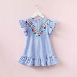 vêtements bébé fille Nouveautés bébé fille Robe rayée à pompons coton d'été Enfants Robes manches volantées Vêtements enfants