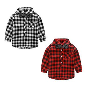 Baby Kids Clothing Toddler Boys Gentleman Shirt Long Sleeve Bowknot Plaid Tops for 80cm to 140cm Toddler Infant Baby Boy