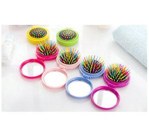 Airbag massage pliant peigne avec miroir Brosses à cheveux pour les filles Accessoires Voyage Portable pliant Mini ronde peigne de massage