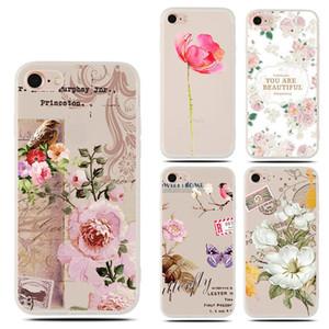 Для iPhone Х 8 плюс 7 плюс 6s TPU матовое прозрачное выбитый цветочный чехол ТПУ сотовый телефон случаях