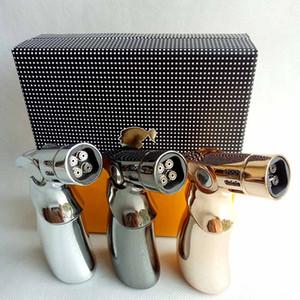 hediye kutusu ile açık çakmaklar YOK Gaz rüzgar geçirmez 4 Yakıcılar Cohiba Jet Alev Turbo Torch barbekü şişme bütan Sigara puro