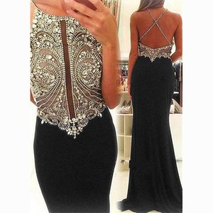Elegant Black Chiffon Spaghetti Straps Neckline Sheath Evening Dresses With Sexy Illusion Backless Crystal Beadings Mermaid Evening Gowns