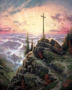 Обрамленный восход Солнца крест, Томас Кинкейд картина маслом на холсте, HD печать стены искусства, различных размеров, Pr083!
