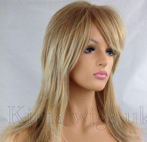 FULL WOMENS LADIES HAIR WIG 2 TONE BLONDE FLICK LAYERED LONG B95 KIMS WIGS UK