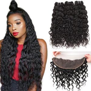 8A бразильские девственные человеческие волосы 3Bundles с 13x4 уха до уха кружева фронтальная волна воды глубокая Свободная волна кудрявый вьющиеся пучки человеческих волос