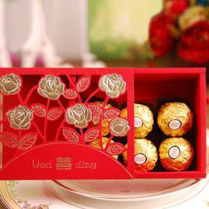 Chinesische Hochzeit Pralinenschachtel Rot Doppel Glück Papier Rose Blume Blossom Aushöhlen Schokolade Tasche Party Geschenk Dekor ZA6313