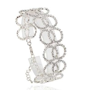 FU Diseño Único Fine Zircon Pulsera de Múltiples Capas de Doble Capas Círculo Completo Crystal Loop Boda Romántica Pulseras Finas