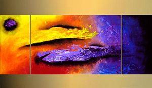 El boyalı 3 panel yağlıboya modern soyut parlak renk boyama indirim duvar sanatı tırnaklar dekoratif boyama Kungfu Sanat
