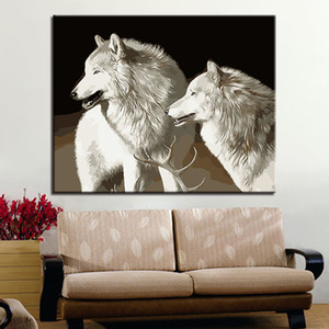 White Wolf Diy Painting By Numbers Hand Painted Modern Wall Art Oil Painting For Home Decor Artwork