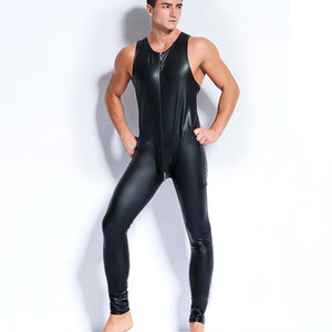 Sexy Männer Faux Latex Body aus Leder Fetisch Homosexuell Sissy Exotic Club Wear Ärmellose Kostüme Spiel Bekleidung Teddies Overalls