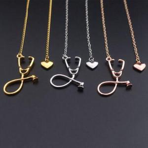 Ich liebe dich Herz Stethoskop Halskette Silber Rose Gold Anhänger Mode mystischen Arzt Halsketten Krankenschwester Arzt bester Freund Geschenk 3 Farben