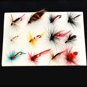 12 Adet / takım Perisi Fly Alabalık Fly Fishing Yemler Fly Fishing Lure Seti Böcek Tarzı Yapay Yem Ile Tüy Tek Kanca