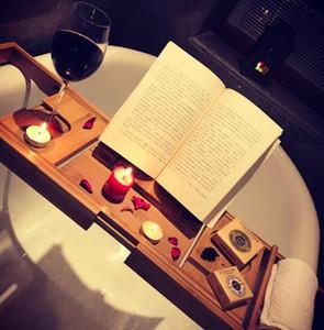 Baignoire bambou caddy cadre de rack de bain plateau plateau étagères de salle de bains étagères rétractables conseil ensemble de douche multifonctionnel