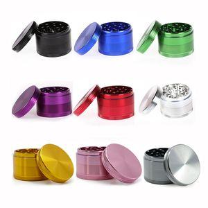 Aleación de aluminio Amoladora Hierba Trituradora de especias Amoladoras de metal 40 mm 50 mm 55 mm 63 mm 4 piezas Amoladoras Super alta calidad 9 colores