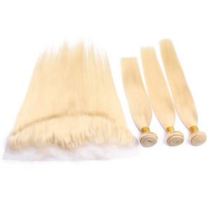 Блондинка #613 шелковистые прямые волосы ткет с кружевом фронтальной 13x4 Малайзии прямые человеческие волосы 3Bundles с уха до уха кружева фронтальной закрытия