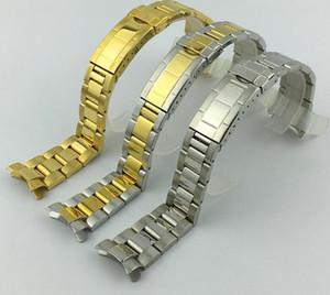 Watchband 20 ملليمتر حزام الفرقة حزام 316l الفولاذ المقاوم للصدأ سوار منحني نهاية الفضة ووتش الملحقات رجل watchstrap ل subhariner الذهب + أدوات