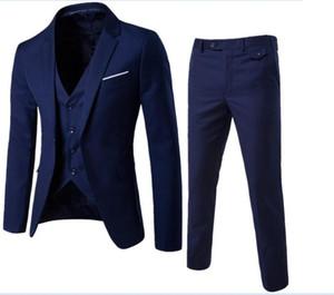 Marca famosa trajes para hombre Novio de la boda más el tamaño 6XL 3 piezas (chaqueta + chaleco + pantalón) Slim Fit Casual esmoquin traje masculino
