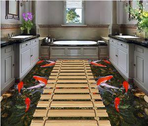 Papel pintado autoadhesivo del suelo 3D del pvc Baño del suelo del vinilo del PVC del agua del puente