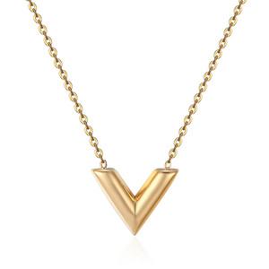Klassisches Design Berühmte Marke V Brief Anhänger Halskette Für Frau Titan Stahl Frau Halskette Luxus Schmuck Weibliche Top-qualität