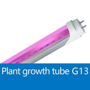 T8 LED 튜브 공장 조명 4 피트 18W AC85-265V 레드 블루 1200MM 96LEDs 형광 전구 램프 충전 보조 조명 야채 성장