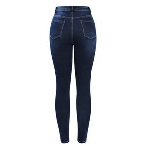 Pantalones lápiz Pantalones vaqueros de cintura alta recién llegados para mujer Pantalones elásticos con botones azul oscuro Pantalones vaqueros pitillo de mezclilla Pantalones