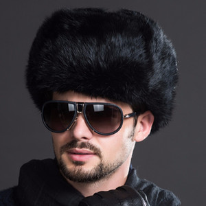 Naiveroo Fashion Russian Male Men's Winter Warm Fur Bomber Hats Black Solid Thicken Earflap Caps Leifeng Snow Hats Ear Warmer