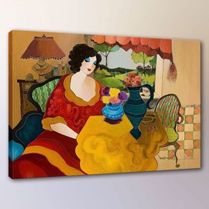 Itzchak Tarkay Woman Lady Cafe Portraits Art,Handpainted  HD Print Wall Art Oil Painting On Canvas.Multi Custom Sizes  Frame It028