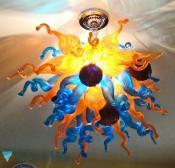 Mano soplado Murano Glass Chandelier la decoración del hogar precio barato Chihuly LED soplado cristal azul Crystal Chandelier envío gratis