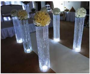 Hochzeit Gang Kristallsäulen Hochzeit Gehwegständer Herzstück für Party Weihnachten Hochzeit Dekor Blume Stand Dekoration