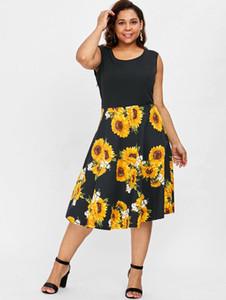 Wipalo Kolsuz Artı Boyutu Ayçiçeği Baskı Bağbozumu Elbise Patchwork Casual Siyah Elbise Kadınlar Line Çiçek Midi Elbiseler 4XL