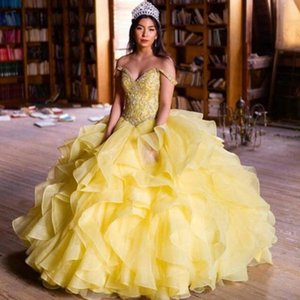 2019 Gorgeous Quinceanera Dresses Beaded Appliqued Top Sweetheart Off the Shoulder Yellow Ruffles Skirt Floor Length Prom Party Gowns