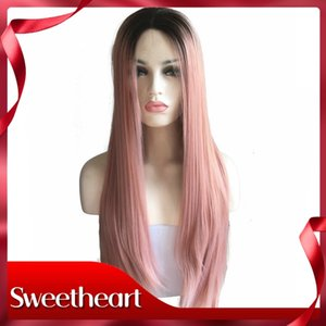 Free Shipping Silky Straight Rose Gold Synthetic Lace Front Wigs With Roots Long Women Ladies Hair Replacement Full Wig High Temperature