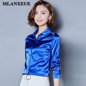 2018 mulheres blusa de cetim de seda botão lapela camisas de manga longa senhoras escritório trabalho elegante feminino Top de alta qualidade Blusas 3XL