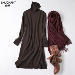 Vestido de punto de invierno de Shuchan Cuello alto Cálido 50% Lana + 25% algodón + 10% Cachemira Recta Hasta la rodilla Suéteres de punto Vestidos 0119