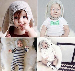 4 Renk INS Sonbahar Kış Yürüyor bebek Örme Bebek tığ Şapka Sevimli Tavşan Uzun Kulak Şapka Bebek Bunny Bere Kapaklar Fotoğraf Sahne TO537