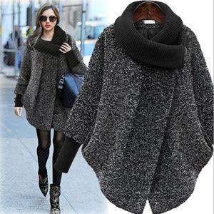 Nueva llegada Mezclas de lana de las mujeres Ropa de abrigo de las mujeres americanas europeas Otoño invierno chaqueta suelta chaqueta de punto larga chaqueta de felpa Mezclas de lana de las mujeres