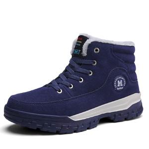 Men's Ankle Boots Big size 39-45 Autumn Winter Warm Fur Men Snow Boots Lace-up Men Casual Shoes Blue Botas Hombre