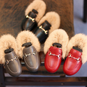 Baby Kids Shoes Newest Winter Children British Style Leather Shoes Soft Outsole Sneakers Toddler Thick Velvet Villi Keep Warm Princess Shoe