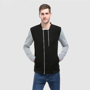 Mode Herren Sweatshirts Splicing Doppelreißverschluss Design Mode Strickjacke Herren Sweatshirt Gerade Stil Langarm