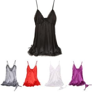 GsPot Kadınlar Sexy Lingerie Set Bow Dantel Trim Saten Chemise Babydoll Gecelikler G-String Bayan pijama 7 renk 4 boyutları.