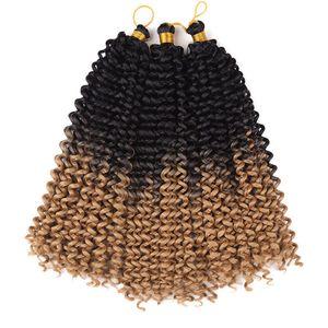 "Jerry Curl Weave Ombre Synthetic Braiding Hair Bulk 14""inch Freetress Braids Synthetic Crochet Water Wave bulk for women 3pieces full wear"